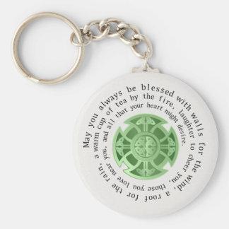 Bendición irlandesa con la cruz céltica llavero redondo tipo chapa