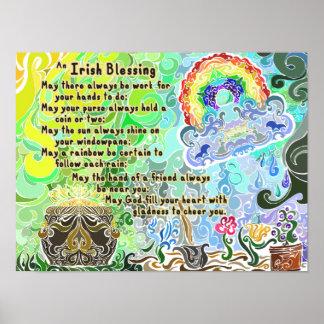 Bendición irlandesa dura Flash~ ~Psychedelic del t Póster