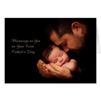 Bendiciones a usted en el su primer día de padre tarjeta de felicitación