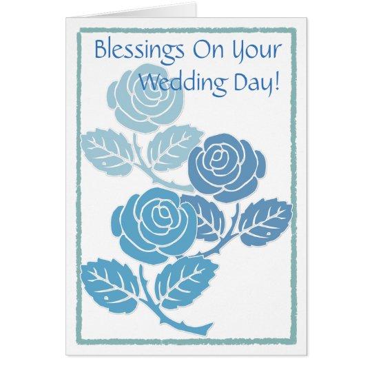 Bendiciones azules de los rosas en su tarjeta del