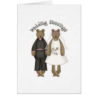 Bendiciones del boda del oso de peluche felicitacion