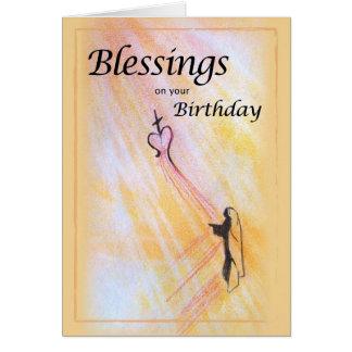 Bendiciones del cumpleaños, religiosas tarjeta de felicitación