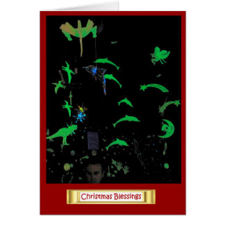 Bendiciones del navidad, decoraciones luminosas felicitación