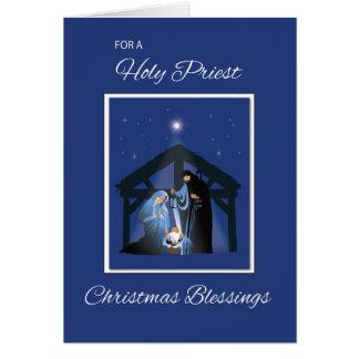 Bendiciones del navidad del sacerdote, escena de tarjeta de felicitación