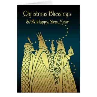 Bendiciones del navidad - tres hombres sabios - tarjeta de felicitación