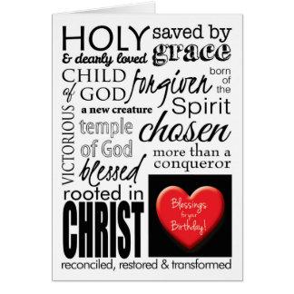 Bendiciones en su cumpleaños, tipografía cristiana tarjeta de felicitación