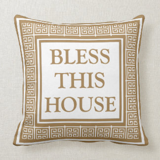 Bendiga esta llave griega elegante de la casa cojín decorativo