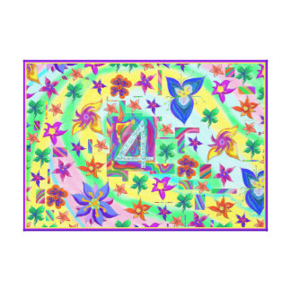 Bendígale 4 toda su lona de la flor del lienzo
