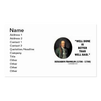 Benjamin Franklin hecho bien es un mejor pozo dich Plantilla De Tarjeta Personal