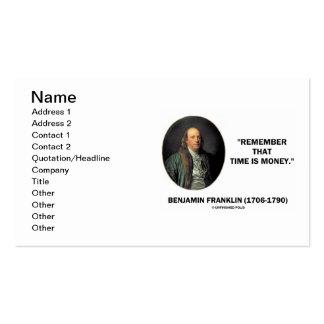 Benjamin Franklin recuerda eso el tiempo es oro Tarjetas De Visita