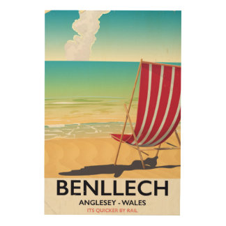 Benllech, poster del viaje del vintage de Anglesey Impresión En Madera