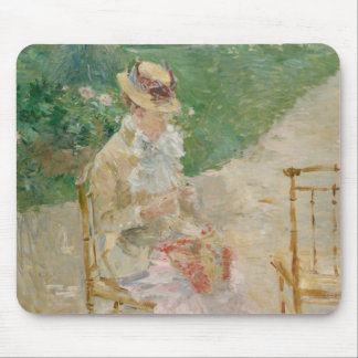 Berthe Morisot - el hacer punto de la mujer joven Alfombrilla De Ratón