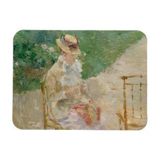 Berthe Morisot - el hacer punto de la mujer joven Imán Flexible