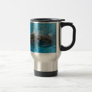 Besar delfínes taza de viaje de acero inoxidable