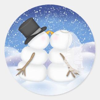 Besar los muñecos de nieve novia y al pegatina del