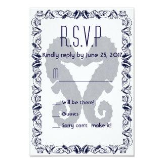 Besar los Seahorses que casan R.S.V.P. en marina Invitación 8,9 X 12,7 Cm