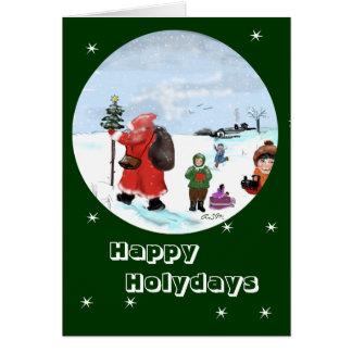 … Bescherung en la nieve grusskarte Tarjeta De Felicitación