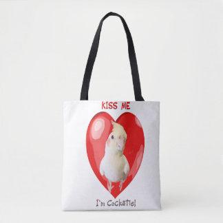 ¡Béseme que soy la bolsa de asas del Cockatiel!