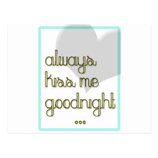 béseme siempre buenas noches corazón amarillo azul postal