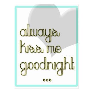 béseme siempre buenas noches corazón amarillo azul tarjeta postal