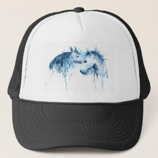 Beso del caballo de la acuarela, amor del caballo gorra de camionero