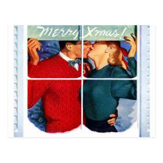 Beso del navidad postal