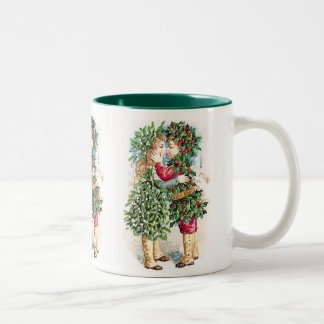 Beso del navidad taza de dos tonos