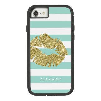 Beso del purpurina del oro personalizado funda tough extreme de Case-Mate para iPhone 8/7