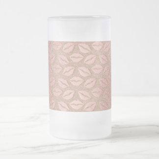 Beso metálico del polvo color de rosa rosado taza de cristal esmerilado