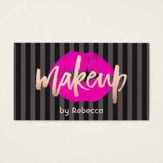 Beso subió rayado de los labios del rosa del oro tarjeta de negocios