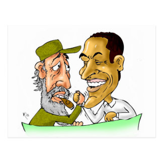 Besos de Cuba y los E.E.U.U. FIDEL y BARACK Postal