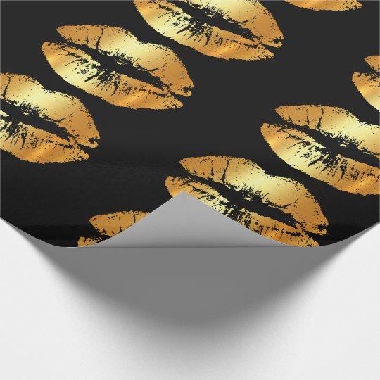 Besos de oro de lujo de los labios en el papel de