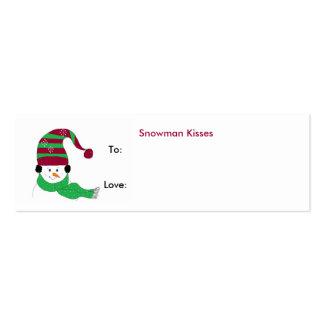 Besos del muñeco de nieve - etiqueta del regalo plantilla de tarjeta de negocio