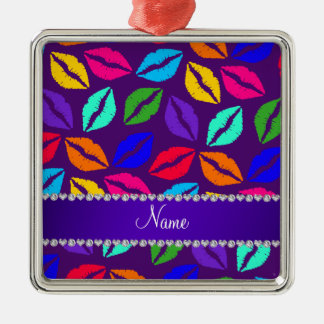Besos púrpuras conocidos personalizados del lápiz adorno cuadrado plateado