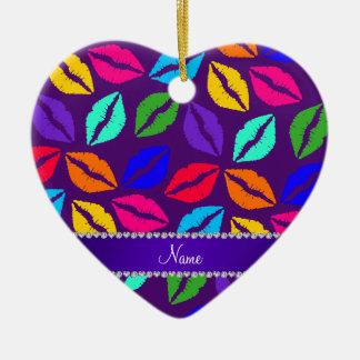 Besos púrpuras conocidos personalizados del lápiz adorno de cerámica en forma de corazón