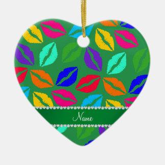 Besos verdes conocidos personalizados del lápiz adorno de cerámica en forma de corazón