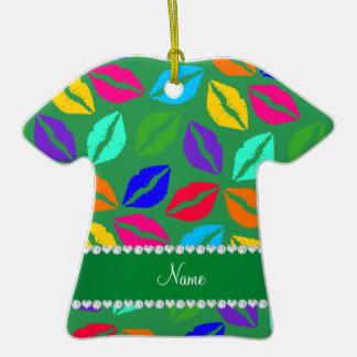 Besos verdes conocidos personalizados del lápiz adorno de cerámica en forma de camiseta