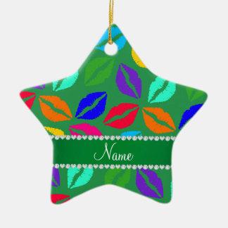 Besos verdes conocidos personalizados del lápiz adorno de cerámica en forma de estrella