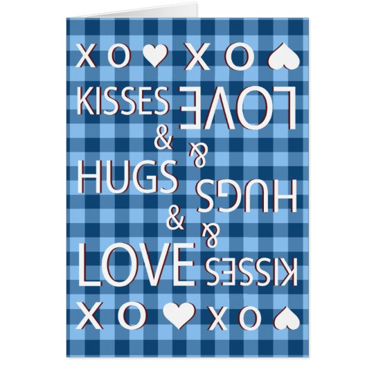 Besos y abrazos y guinga del amor a cuadros tarjeta de felicitación