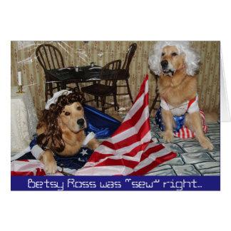 Betsy Ross de oro cose la bandera para el 4 de Tarjeta