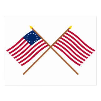 Betsy Ross e hijos cruzados de las banderas de la Postal
