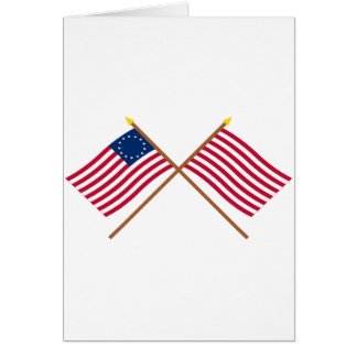 Betsy Ross e hijos cruzados de las banderas de la Tarjeta De Felicitación