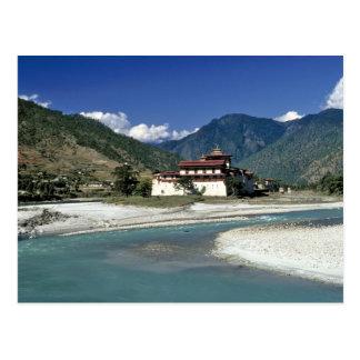 Bhután, Punaka. El río del MES Chhu fluye más allá Postal