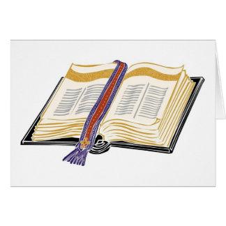 Biblia con la señal tejida tarjeta de felicitación