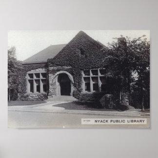 Biblioteca, Nyack, vintage de Nueva York Póster