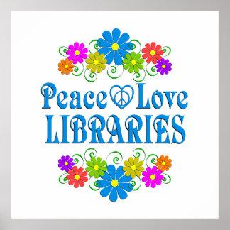 Bibliotecas del amor de la paz póster