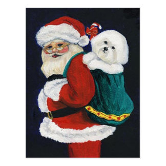 Bichon Frise y postal del navidad del arte de