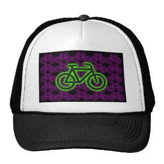 Bici, bicicleta, neón, verde, rosa, púrpura gorra