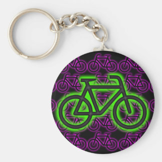 Bici, bicicleta, neón, verde, rosa, púrpura llavero