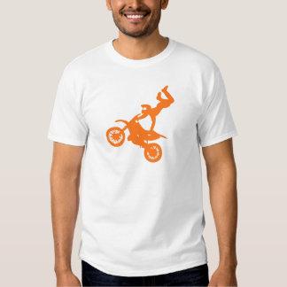 Bici blanca anaranjada simple de la suciedad del camisetas